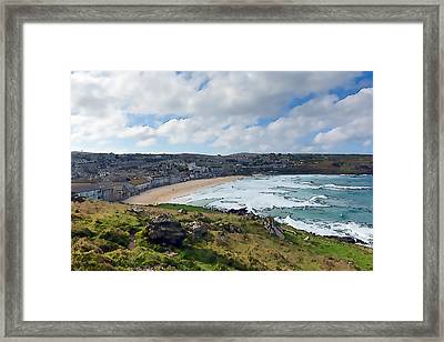 Porthmeor Beach St Ives Cornwall England United Kingdom With Waves Blue Sea And Sky Colourful  Framed Print