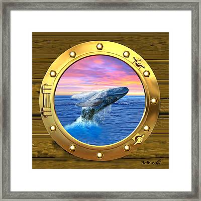 Porthole View Of Breaching Whale Framed Print