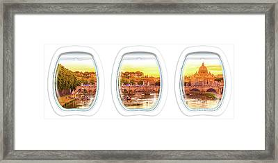 Porthole Windows On Rome Framed Print