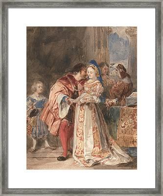 Portia And Bassanio Framed Print by Richard Parkes Bonington