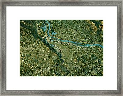 Portland 3d Landscape View South-north Natural Color Framed Print by Frank Ramspott