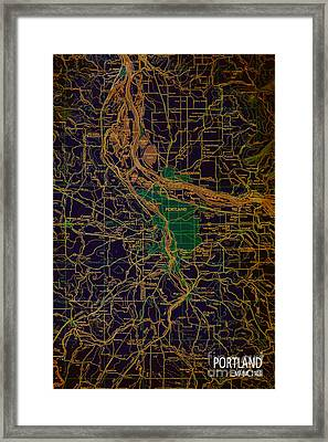 Portland Brown And Green Antique Map Framed Print