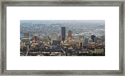 Portland City Downtown Cityscape Panorama Framed Print by David Gn