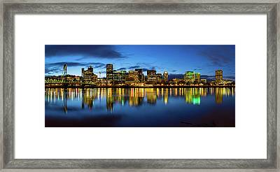 Portland City Skyline Blue Hour Panorama Framed Print by David Gn
