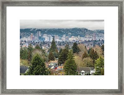 Portland City Skyline From Mount Tabor Framed Print by David Gn