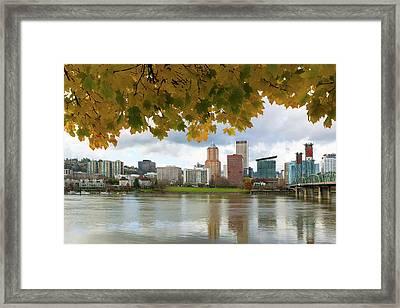 Portland City Skyline Under Fall Foliage Framed Print