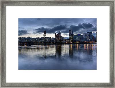 Portland City Skyline With Hawthorne Bridge At Dusk Framed Print by David Gn