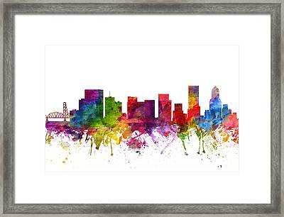 Portland Cityscape 06 Framed Print by Aged Pixel