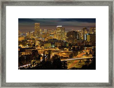 Portland Downtown Cityscape And Freeway At Night Framed Print