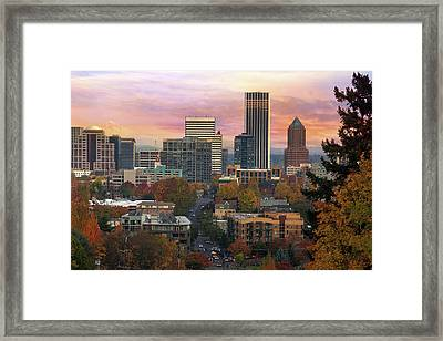 Portland Downtown Cityscape During Sunrise In Fall Framed Print