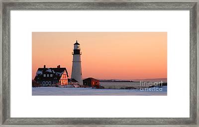 Portland Head Light At Dawn - Lighthouse Seascape Landscape Rocky Coast Maine Framed Print by Jon Holiday