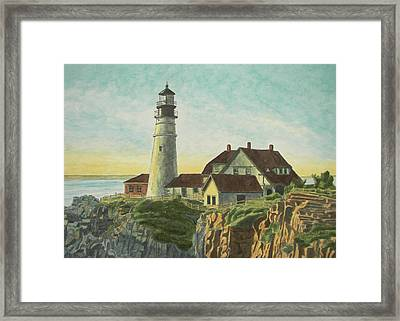 Portland Head Light At Sunrise Framed Print