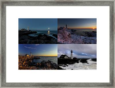 Portland Head Light Day Or Night Framed Print