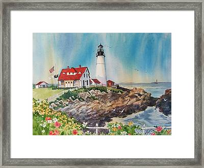 Portland Head Light Framed Print by Dianna  Willman