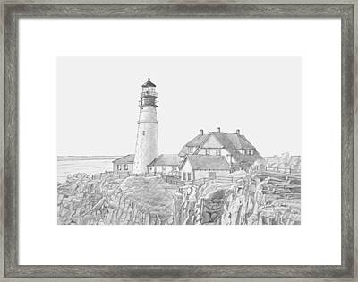 Portland Head Light Drawing Framed Print