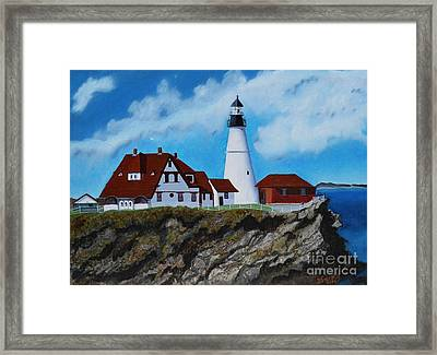 Portland Head Light In Maine Viewed From The South Framed Print