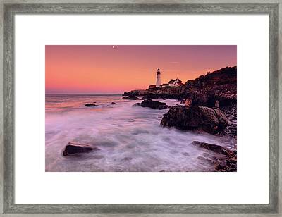 Framed Print featuring the photograph Portland Head Light In Pink  by Emmanuel Panagiotakis