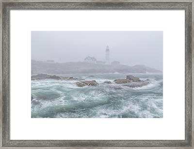 Portland Head Light In The Fog Framed Print by Stephen Beckwith