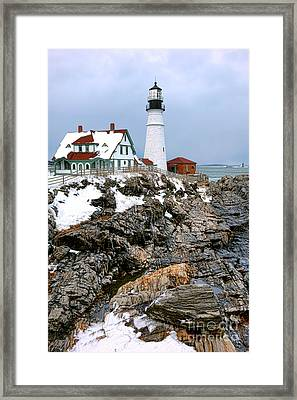 Portland Head Light In Winter Framed Print by Olivier Le Queinec