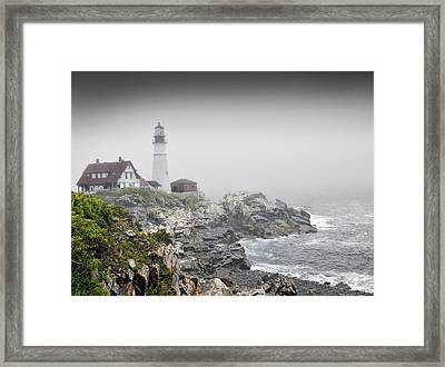 Portland Head Light On A  Foggy Day Framed Print