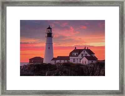 Framed Print featuring the photograph Portland Head Light Sun Set  by Emmanuel Panagiotakis