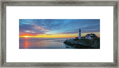 Framed Print featuring the photograph Portland Head Light Sunrise by Juergen Roth