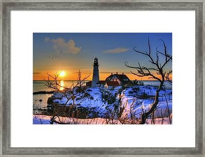 Portland Head Light Sunrise - Maine Framed Print