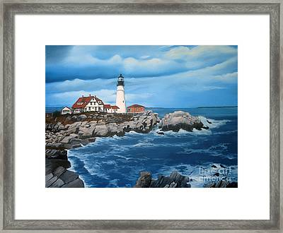 Portland Head Light Framed Print by Tobi Czumak