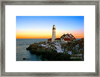 Portland Head Light Winter Sunset Framed Print by Olivier Le Queinec