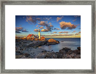 Portland Head Lighthouse At Sunset Framed Print