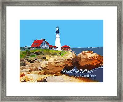 Portland Head Lighthouse Cape Elizabeth Maine Framed Print by Elaine Plesser