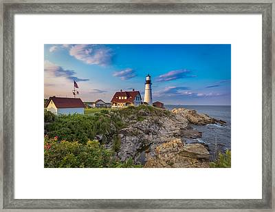 Framed Print featuring the photograph Portland Head Lighthouse by Cindy Lark Hartman