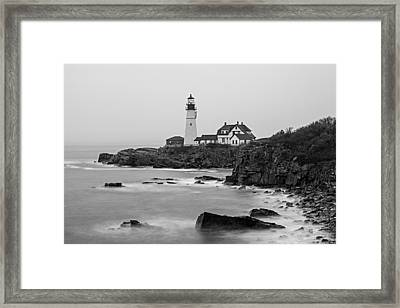 Portland Head Lighthouse Foggy Morning Black And White Framed Print