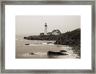 Portland Head Lighthouse Foggy Morning Sepia Framed Print
