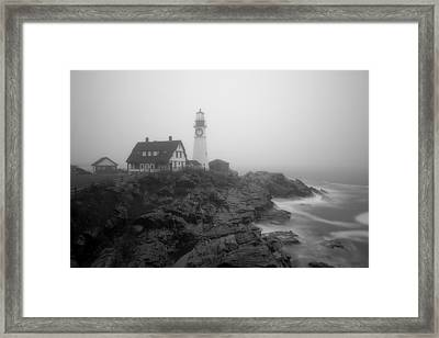 Portland Head Lighthouse In Fog Black And White Framed Print
