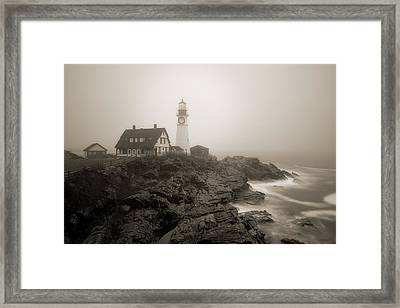 Portland Head Lighthouse In Fog Sepia Framed Print