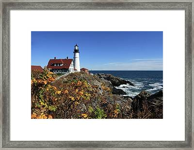 Portland Head Lighthouse In The Fall Framed Print