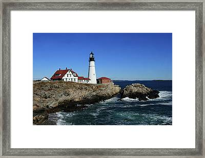Portland Head Lighthouse Framed Print by Lou Ford