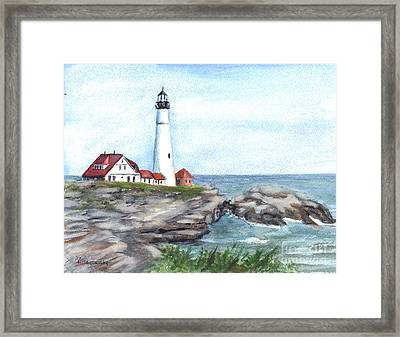 Portland Head Lighthouse Maine Usa Framed Print