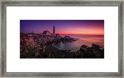 Framed Print featuring the photograph Portland Head Lighthouse Sunrise  by Emmanuel Panagiotakis