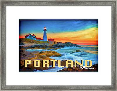 Portland Head Lighthouse Vintage Travel Poster Framed Print