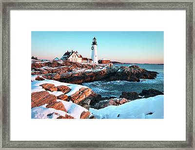 Portland Head Lighthouse Winter Sunrise Framed Print by Eric Gendron