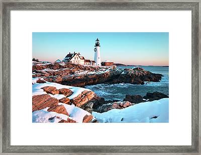 Portland Head Lighthouse Winter Sunrise Framed Print