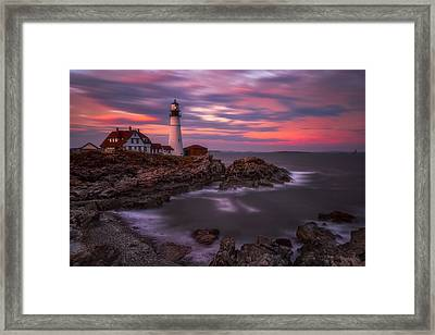 Portland Head Sunset Framed Print by Darren White