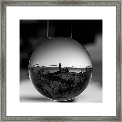Portland Headlight Globe Framed Print