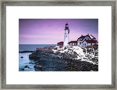 Maine Portland Headlight Lighthouse In Winter Snow Framed Print