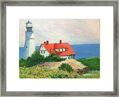 Portland Headlight With Brown Eyed Susans Framed Print by Stella Sherman