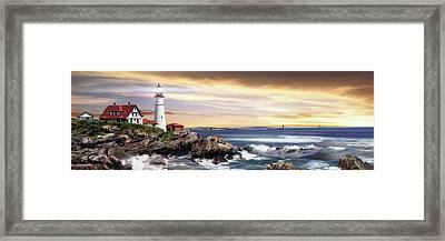 Portland Lighthouse Framed Print by Brent Borup