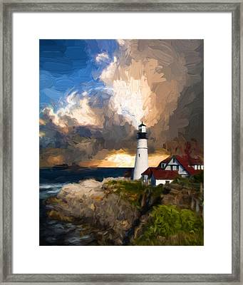 Portland Lighthouse In A Storm Framed Print