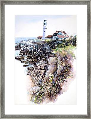 Portland Lighthouse Framed Print by Mike Hill